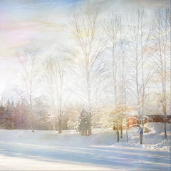 Snow song (BirgittaSjostedt- away for a while.) Tags: winter landscape scene snow cottage tree forest sun outdoor texture paint birgittasjostedt