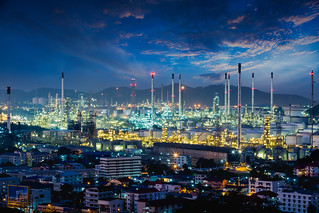Refinery plant area at dusk