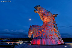 The Kelpies at night, blue hour (Nigel Blake, 16 MILLION views! Many thanks!) Tags: kelpies nigelblakephotography nigelblake falkirk scotland horse head scuptures sculpture art public thehelix publicart