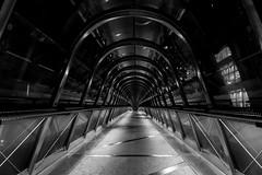 Back to the Future (urban requiem) Tags: tunnel passerelle bridge pont piétonne nb bw noir et blanc noiretblanc blackandwhite black white perspective paris la defense défense ladéfense bynight nuit night denuit