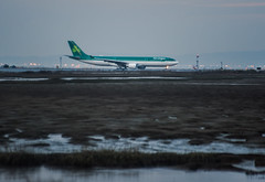aer lingus el 146 taxis to takeoff (pbo31) Tags: bayarea california color nikon d810 january winter 2018 boury pbo31 sanfranciscointernational sfo airport aviation flight airline plane millbrae shoreline travel aerlingus airbus departure dublin a330 sanmateocounty lowtide bay green taxi