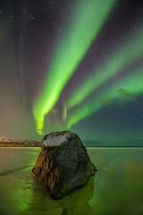 Green Energy (Mr F1) Tags: skagsandenbeach johnfanning norway winter auroraborealis green greenewnergy emerald tonalrange rock sea ocean nightphotography dark sky stars light land streaks sand reflection ice snow
