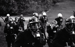 Allen Building Takeover, February 13, 1969 (Duke University Archives) Tags: dukeuniversity westcampus durham nc activism protest police gasmasks helmets batons