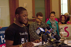 North Division High School Students Speak Get the Lead Out of Our Water Press Conference Milwaukee City Hall 2-14-18  9730 (www.cemillerphotography.com) Tags: tainted poisoned corroded deadly unhealthy learningdefects kids children harmful toxin toxic schools homes pipes drinkingwater filter disease substance chemical ingest breathein paint