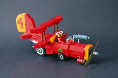 Wacky Races - Crimson Haybailer (captainsmog) Tags: lego moc wacky races vehicle plane car red cartoon barbera hanna