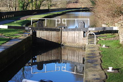 Reflected lock ....... (Halliwell_Michael ## Offline mostlyl ##) Tags: brighouse brookfoot calderhebblecanal towpath westyorkshire nikond40x 2018 winter locks lock reflection reflections blue water perspective reflectionslovers landscapes