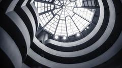 Ceiling (Wander Bunny) Tags: guggenheim nyc newyork america usa travel museum ceiling glass architecture blackwhite