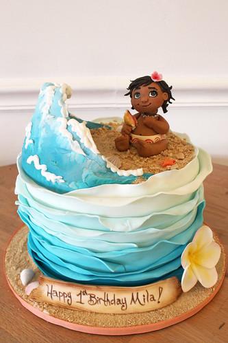 Baby Moana Wave Birthday Cake