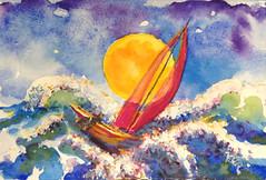 moon-tossed (polusladkaia) Tags: originalart paintings copyrightbvfbetker watercolor artstallgalleryseattle boats water awardtree