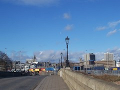 City view from Victoria Bridge, Aberdeen, Feb 2018 (allanmaciver) Tags: city view lamps victoria victorian aberdeen north east coast silver grampian high rise spires blue sky weather clouds allanmaciver
