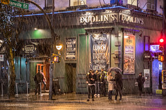 Hops 'n Cops ❄🍺🚨 Vancouver, BC (Michael Thornquist) Tags: snow snowcouver flurry city street doolins irishpub irish pub granvillestreet nelsonstreet granvillestrip granvillemall umbrella vancouverphotos vancouver britishcolumbia dailyhivevan vancitybuzz vancouverisawesome veryvancouver 604now photos604 explorecanada ilovebc vancouverbc vancouvercanada vancity pacificnorthwest pnw metrovancouver gvrd canada 500px