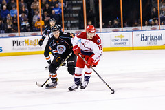 "Kansas City Mavericks vs. Allen Americans, February 24, 2018, Silverstein Eye Centers Arena, Independence, Missouri.  Photo: © John Howe / Howe Creative Photography, all rights reserved 2018 • <a style=""font-size:0.8em;"" href=""http://www.flickr.com/photos/134016632@N02/40458432692/"" target=""_blank"">View on Flickr</a>"