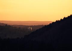 the out-of-place house (michaelmueller410) Tags: sonnenuntergang wald harz osterode hochhaus haus hose sundown dusk evening sunset trees tower hills mountais hügel berge orange