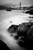 Don't ever stop.. (KurteeQue) Tags: longexposure seascape bnw blackwhite sanfrancsico california bakerbeach beach rocks ocean sky clouds soft bigstopper leefilters sand bridge landscape nikon