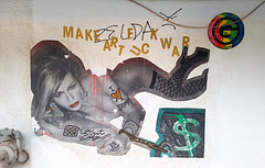 First Lady (Fred:) Tags: make art fuck war love heart donald trump first lady gboys dollar sign streetart plateaumontroyal montréal woman makeartfuckwar golden letters bling fishnet stockings lipstick naked lying erotic chained handcuff handcuffs money cash greed wheatpaste pasting affiche poster urban street urbain plateau montroyal politics capitalism