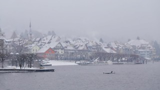 Focus on Snowflakes (Quaint Swiss Town in Winter)