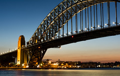 Sydney Harbour Bridge sunset (StefanKleynhans) Tags: nikon d7100 sydney harbour bridge australia nsw structure architecture sunset sky blue orange yellow light city