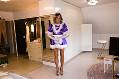 A glove is damaged (chantal_fouet) Tags: tv cd tg stockings nylon satin sissy maid