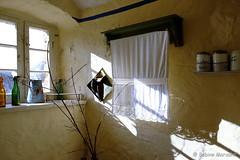 Raus aus dem Haus - die Sonntagssonne scheint für Euch  alle (Sockenhummel) Tags: rüdersdorf museumsdorf küche fenster gardine sonne schatten raum fuji xt10 kitchen window museumspark brandenburg