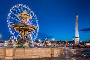 Fontaine des fleuves, l'obélisque et la grande roue de la place de Concorde