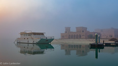 Boat moored near Zayed Heritage Centre on foggy morning (Jhopne) Tags: abudhabi uae jan18 fog zayed heritagecentre water canonef2470mmf28lusm canoneos5dmarkii