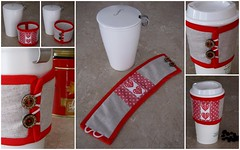 HOT CUP COZY VALENTINE'S DAY (Patchwork Daily Desire) Tags: coconut buttons hobby crafts crossstitch crossstitchchart hearts valentines red giftideas