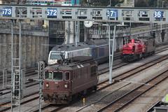 BLS Lötschbergbahn Lokomotive Re 4/4 190 mit Taufname Raron ( Hersteller SLM Nr. 5222 - BBC - Neu UIC Re 425 - Inbetriebnahme 1982 - Einholmstromabnehmer Elektrolokomotive ) am Bahnhof Spiez im Berner Oberland im Kanton Bern der Schweiz (chrchr_75) Tags: hurni christoph chrchr75 chriguhurni februar 2018 schweiz suisse switzerland svizzera suissa swiss albumzzz201802februar albumbahnenderschweiz albumbahnenderschweiz20180105 schweizer bahnen bahn eisenbahn train treno zug chriguhurnibluemailch chrchr chrigu bls lötschbergbahn re 44 brau albumblslötschbergbahn albumblsre44 lokomotive elektrolokomotive triebfahrzeug slm 465 albumbahnblslötschbergbahn albumbahnblsre465 albumbahnhofspiez bahnhof spiez kantonbern berner oberland albumsbbam843 diesellokomotive sbb cff ffs schweizerische bundesbahn bundesbahnen am 843 albumbahnenderschweiz20180106schweizer