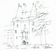 Montmuran, Les Iffs, Ille-et-Vilaine, France (Linda Vanysacker - Van den Mooter) Tags: visiblytalented vanysacker vandenmooter tekening sketch schets potlood pencil lindavanysackervandenmooter lindavandenmooter drawing dessin croquis crayon art château castle kasteel frankrijk france montmuran lesiffs illeetvilaine