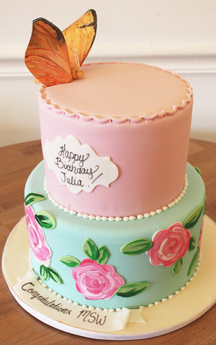 Painted Roses and Butterly Cake