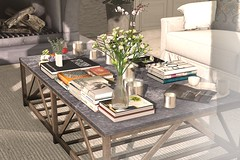 Outdoor Patio #4 (brinks_lemmon) Tags: sofa couch chesterfield chair table coffeetable book coffeetablebook candle vase flowers branches tree curtain pillow cushion rug carpet fireplace stone wine food area drapes