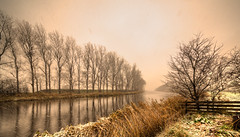 Wintery Noordhollandsch Kanaal. (Alex-de-Haas) Tags: 11mm d750 dutch europa europe hdr holland irix nederland nederlands netherlands nikon noordholland noordhollandschkanaal schoorldam warmenhuizen ambiance art artistic artistiek canal cold daglicht daylight kanaal kou landscape landschap neerslag precipitation professional sfeer sneeuw snow snowing water weather weer winter