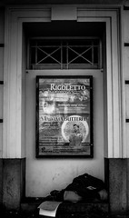 Rigoletto homeless (Chilanga Cement) Tags: fuji fujix100f xseries x100f bw blackandwhite liverpool monochrome street streetphotography people man homeless sleeping sleep poster sign rigoletto