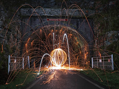 Headstone Tunnel - Orb (Tom Patterson) Tags: peakdistrict derbyshire countryside outdoors greatoutdoors gb uk greatbritain england monsaltrail monsal steelwool steelwoolspinning wirewool wirewoolspinning longexposure longexpo night nightphotography spinning orb vortex tunnel viaduct cycleway slow lights lightpainting dome sparkler sparklers sparks wands wand lightsaber lightsabre monsalhead headstonetunnel headstoneviaduct