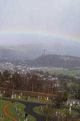 The Wallace Monument and the Rainbow, Edited Version (The Jester) Tags: rainbow stirling scotland wallacemonument cemetary photoedit