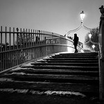 Snowy Ha'Penny Bridge - Dublin, Ireland - Black and white street photography thumbnail