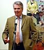 Martin Ainscough speaking at Steve des Landes Private View - Un-settled (14) (ronramstew) Tags: artist painter paintings oils stevedeslandes exhibition privateview wirral merseyside birkenhead january 2018 2010s williamsonartgallery unsettled