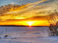 One last sunrise from a frozen Alum Creek State Park! (Edale614) Tags: alumcreek sunrise nature columbus ohio colorful boat lakeside lake frozen winter
