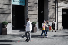 Blindness (Luis Alvarez Marra) Tags: color outdoor barcelona catalonia spain nikon d7000 24mm prime decisive moment collecting soul street tog blind walkingstick surprise candid