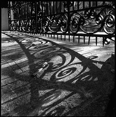 Wrought Iron Noir (ADMurr) Tags: la noir gate shadow wrought iron los angeles newspaper bw kodak film hasselblad 500 cm 50mm zeiss dab948 6x6 square mf