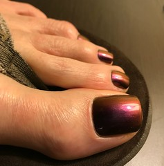 ILNP - Undenied (toepaintguy) Tags: male guy men man masculine boy nail nails fingernail fingernails toenail toenails toe foot feet pedi pedicure sandal sandals polish lacquer gloss glossy shine shiny sexy fun daring allure gorgeous ilnp undenied purple red holo color changer multichrome