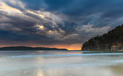 Cloudy Sunrise Seascape (Merrillie) Tags: daybreak sunrise nature dawn uminabeach centralcoast morning sea landscape newsouthwales earlymorning nsw clouds beach ocean water uminapoint waterscape coastal cloudy sky seascape australia coast outdoors waves