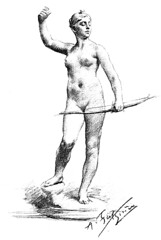Jean Alexandre Joseph Falguière (1831-1900) - Diana (c1882) engraving (ketrin1407) Tags: alexandrefalhuiere diana artemis huntress bow archer archery mythology coronet crescent nude naked sensual erotic 19thcentury drawing engraving blackandwhite whitebackground