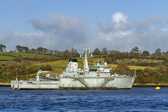HMS Brecon (M29) moored at Jupiter Point (Kev Gregory (General)) Tags: cornwall england grey military royal navy vessel afloat background green fields blue sky white clouds river lynher training raleigh hms brecon torpoint her majesty ship warship retired kev gregory canon 7d
