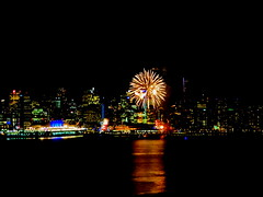 Surprise fireworks show lights up Vancouver skies (+2) (peggyhr) Tags: peggyhr fireworks surprise night skyline harbour dsc05542b jackpooleplaza vancouver bc canada reflections niceasitgets~level1