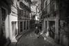 Porto streets..... (Dafydd Penguin) Tags: porto street shot candid scene hill man hat old city urban district portugal blackandwhite blackwhite black white monochrome mono noir raw nikon d610 nikkor 20mm af f28d