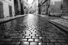 On the Road to Find Out in BW (WilliamND4) Tags: prague blackandwhite blackwhite nikon d810 city road street cobblestone streetphotography buildings weeklythemes housesbuildings theme