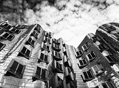 Gehry Buildings (Abdalis_3k60) Tags: gehry architecture sky clouds blackandwhite dusseldorf germany city hafen
