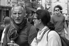 """""""Don't worry about me. Look behind you...."""" (markwilkins64) Tags: portraiture portrait mono monochrome bw uk kent canterbury canon humour street streetphotography"""