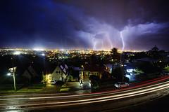 Memorial Dr., Newcastle, Australia (Leighton Wallis) Tags: sony alpha a7r mirrorless ilce7r 1635mm f40 emount newcastle barbeach thehill nsw newsouthwales australia storm lightning clouds rain cars cartrails street road