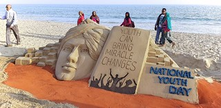 National Youth Day - Sand Sculpture at Puri Beach by international Sand Artist Mr. Manas Sahoo